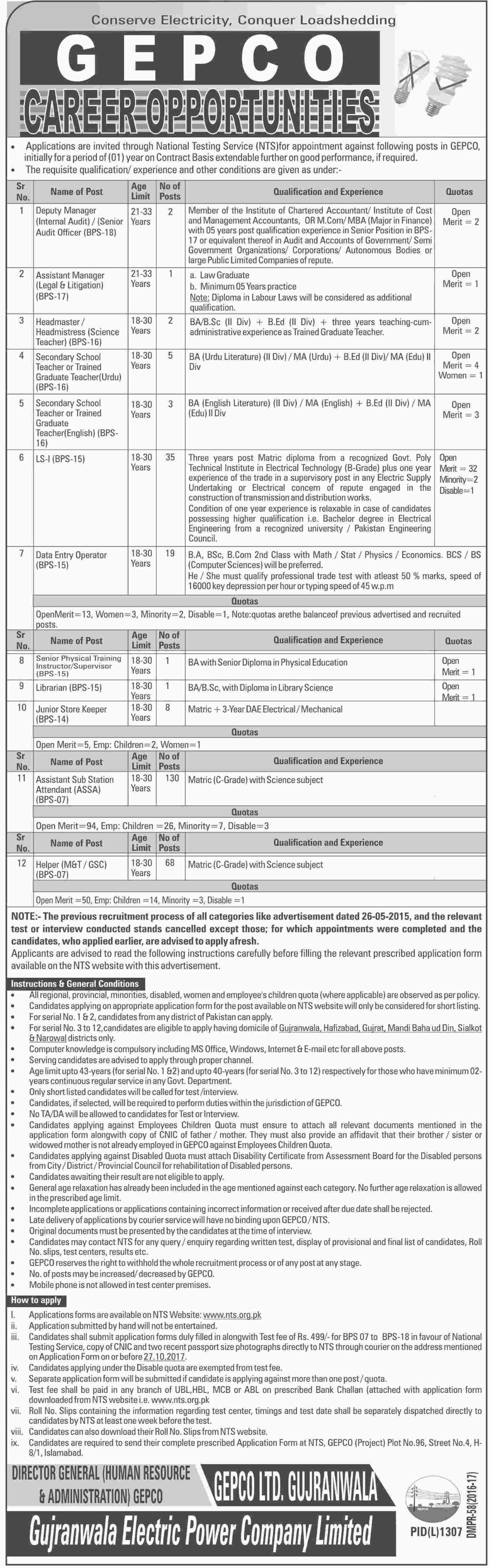 Gujranwala Electric Power Company jobs