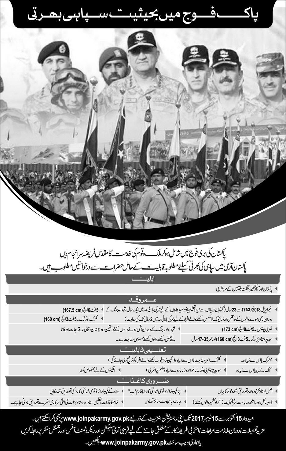 Join Pakistan Army as Soldier Jobs 2017 Latest