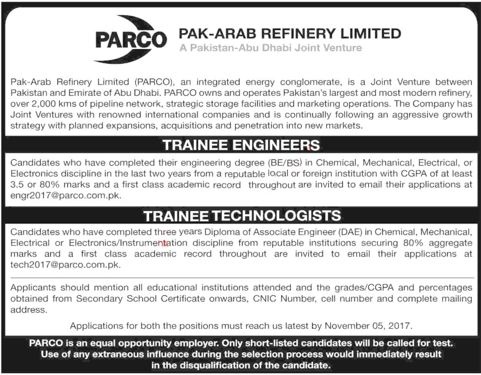 PARCO Jobs 2017 Pak-Arab Refinery Limited Trainee Engineers & Trainee Technologists