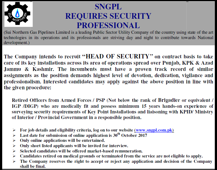 SNGPL Employment Sui Northern Gas Pipelines Limited Security Professional Required