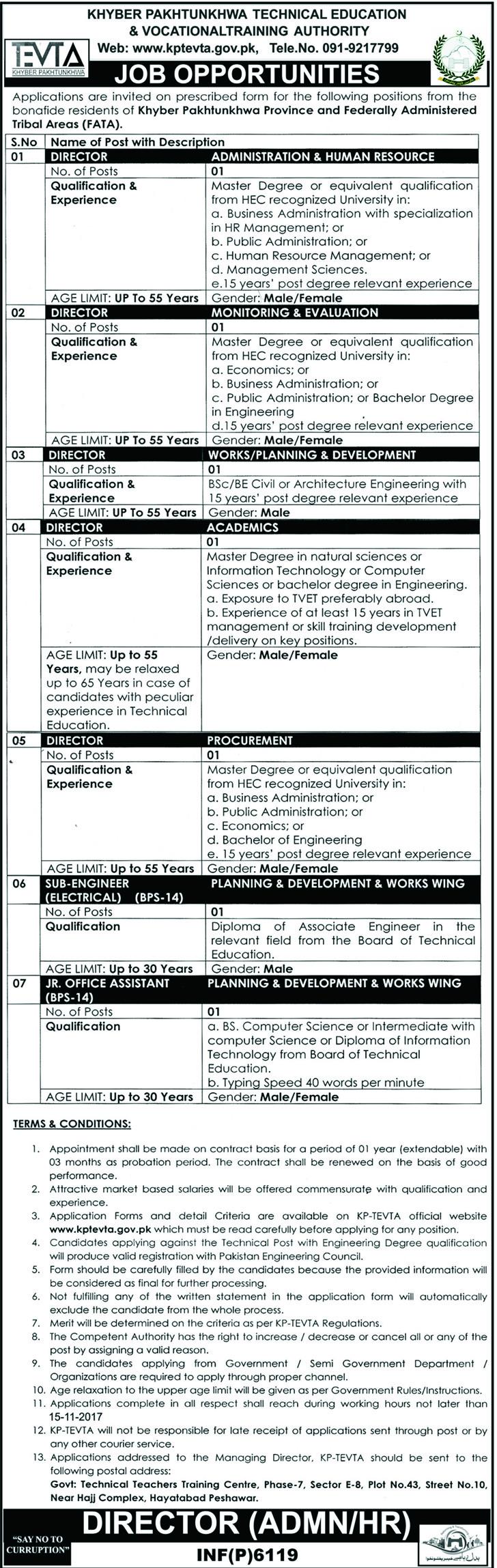 TEVTA Jobs 2017 in Khyber Pakhtunkhwa