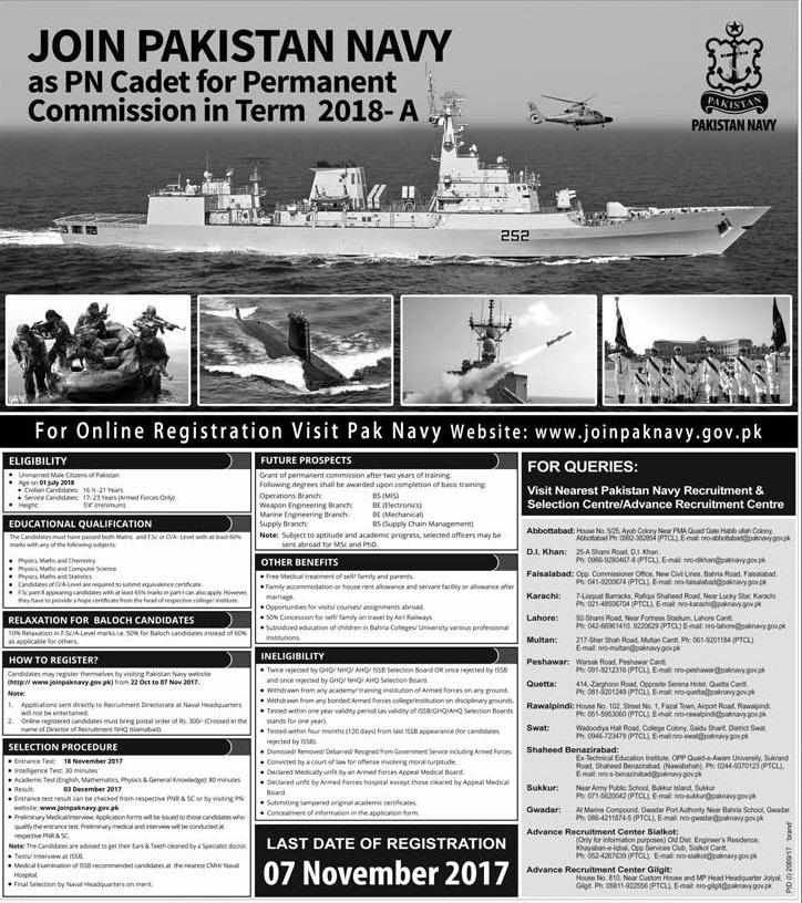 Join Pak Navy 2017 Latest as Commission Officer Jobs in Batch 2018-A Apply Online