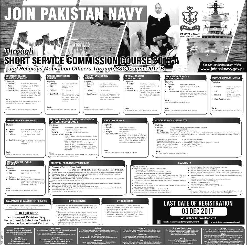Join Pak Navy Latest through Short Service Commission Course SSCC 2018-A Online Registration Armed Forces Jobs