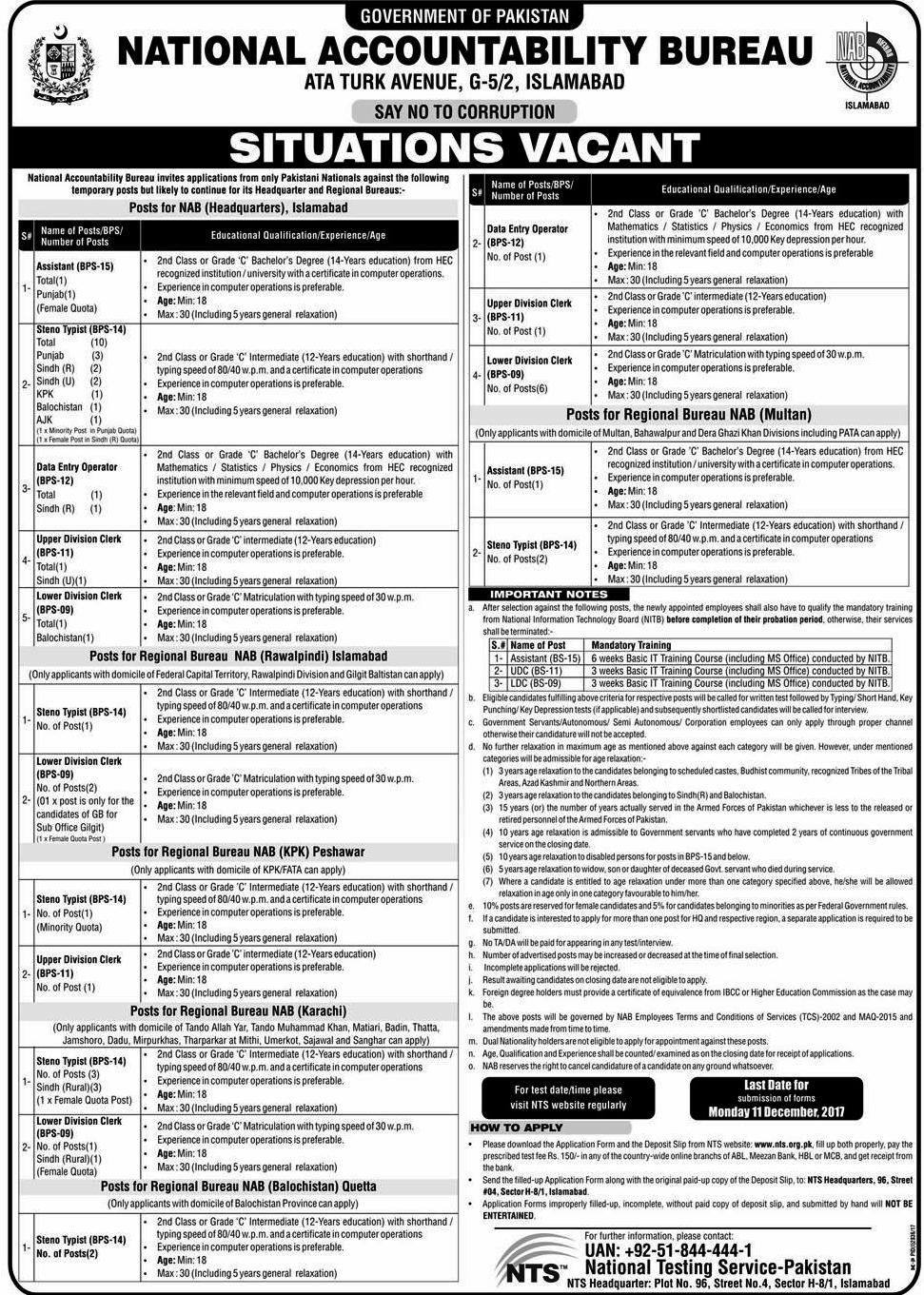 NAB Jobs Latest National Accountability Bureau Jobs