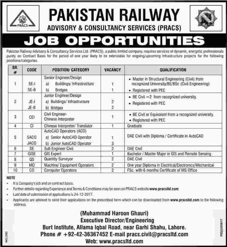 Pakistan Railway Jobs 2018 PRACS Pakistan Railway Advisory & Constancy Services Jobs