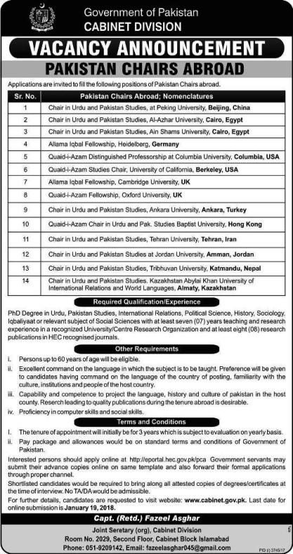 Cabinet Division Jobs 2018 - Jobs in Pakistan Chairs Abroad