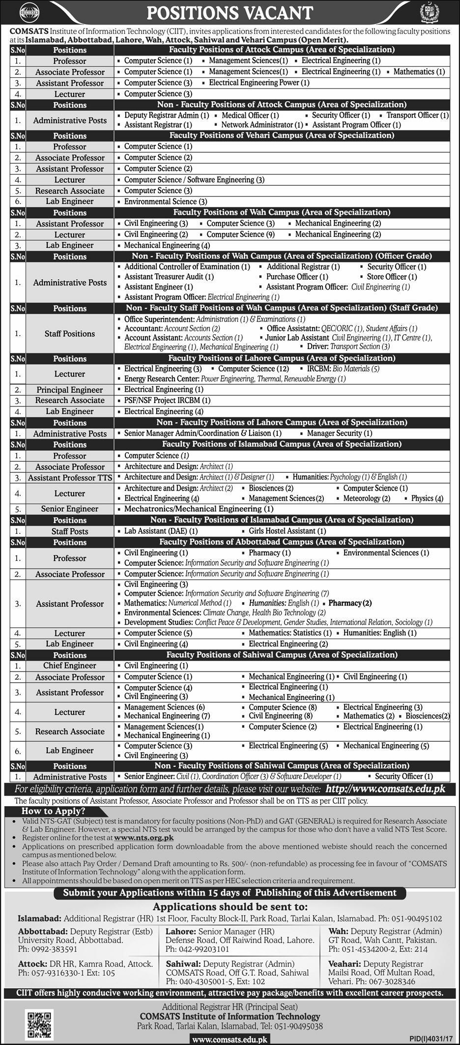 Comsats Jobs 2018 Comsats Institute Of Information Technology Jobs 150+Vacancies