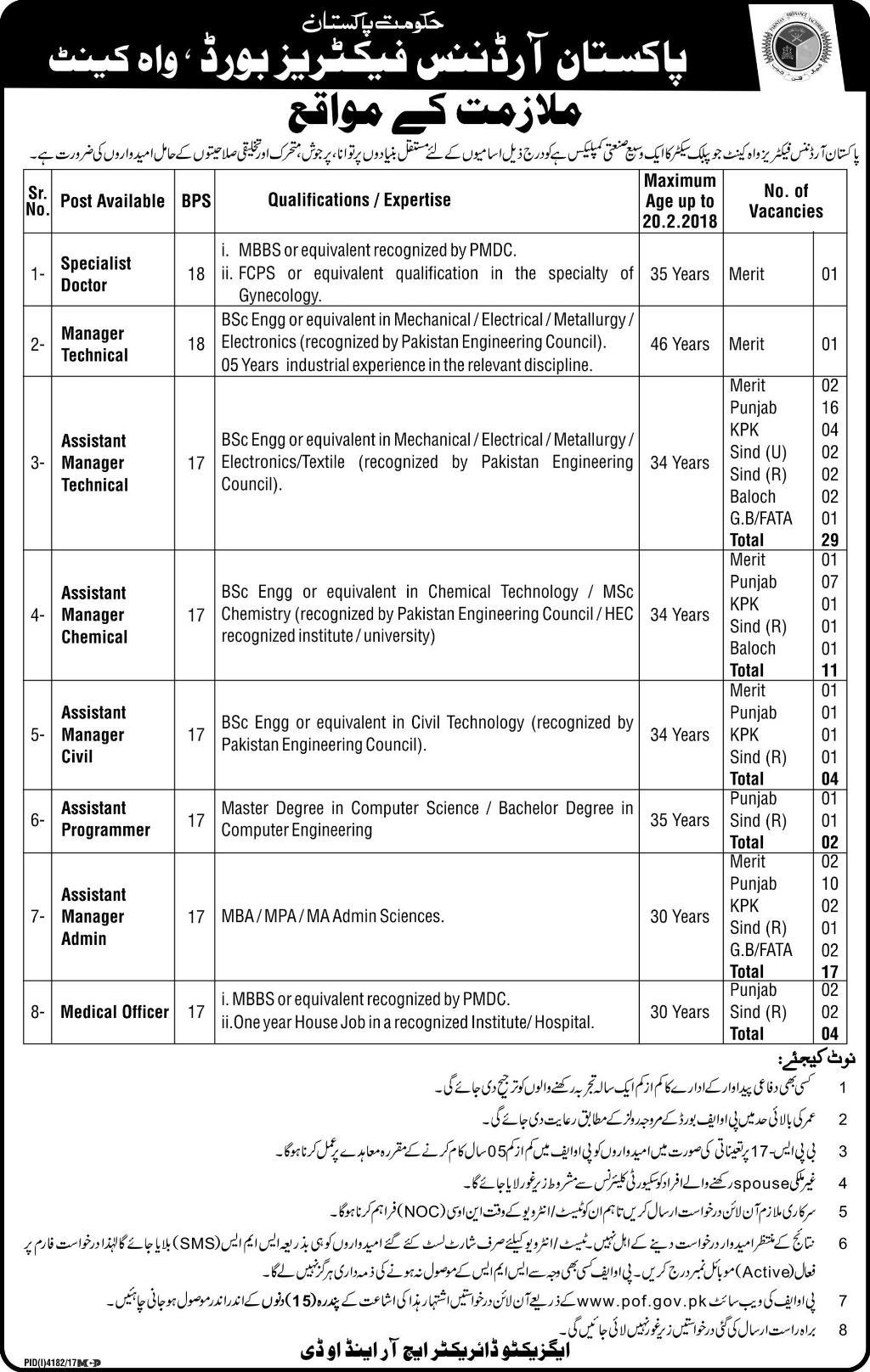 POF Jobs Latest Pakistan Ordnance Factories 2018