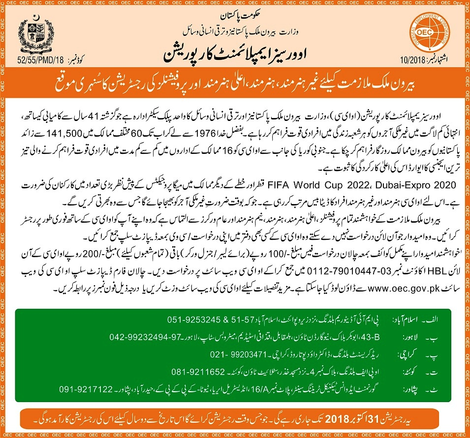 Overseas Employment Corporation Latest OEC Jobs for Pakistanis Apply online onoec.gov.pk