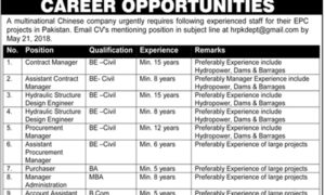 Jobs in Multinational Chinese Company Career Opportunities in EPC Projects Latest