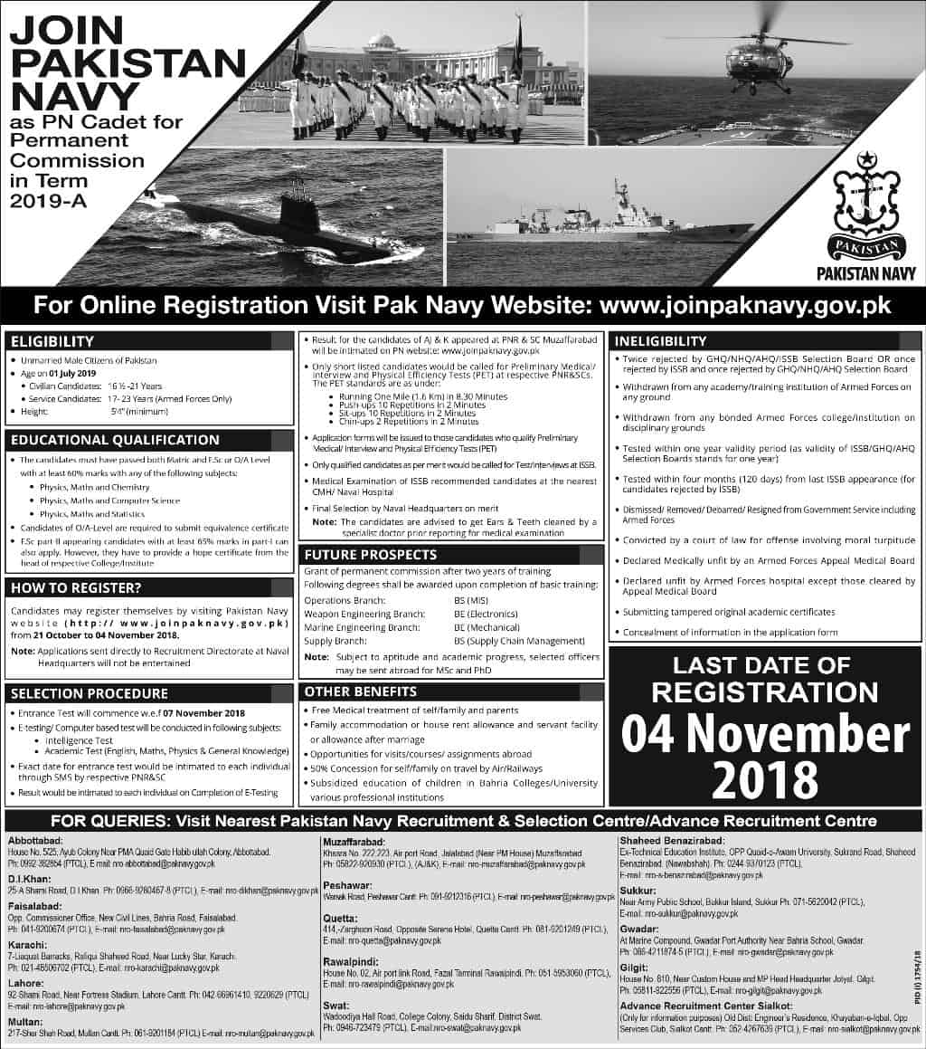 Join Pakistan Navy as PN Cadet for Permanent Commission in term 2018-C (1500+vacancies) Apply Online