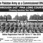 Join Pak Army as Commissioned Officer Through PMA Long Course No 143 PMA Long Course 2018