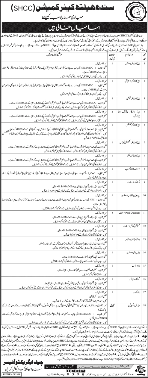 Sindh Healthcare Commission Jobs SHCC Jobs October 2018