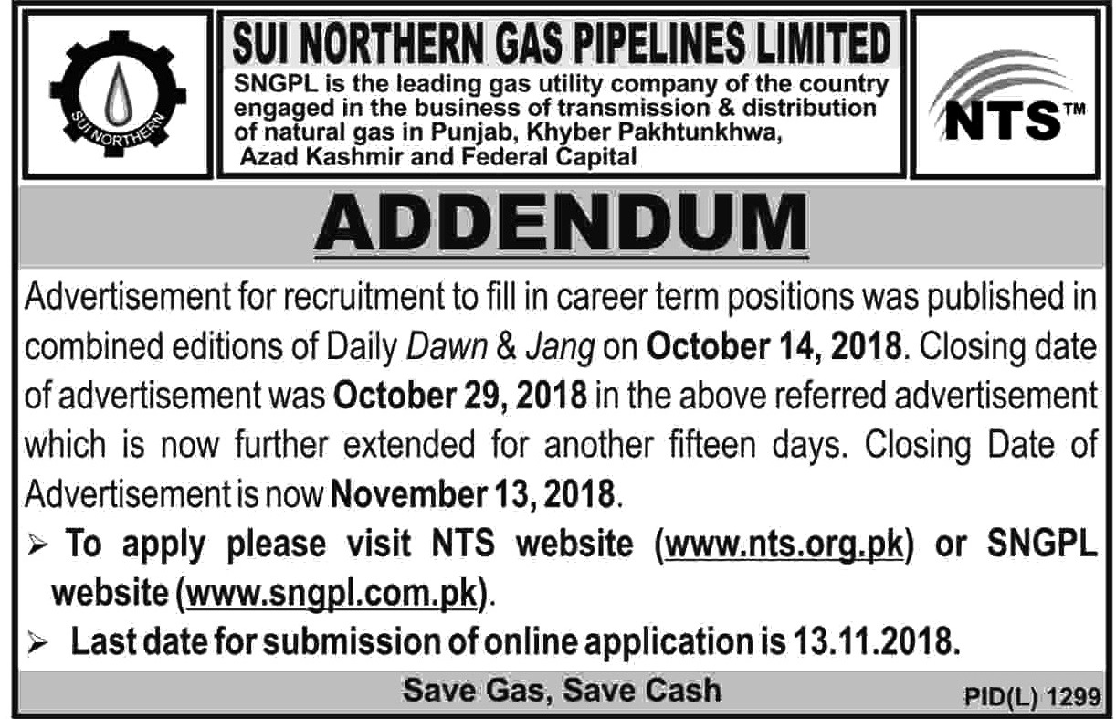 Sui Northern Gas Pipelines Limited Latest Jobs 2018