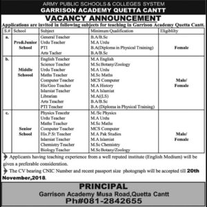 APS Jobs Army Public School And College System Jobs
