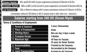 Jobs abroad Urgently required for Muscat, Oman via Overseas Employment Corporation