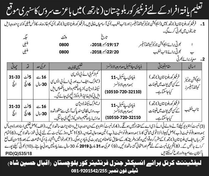 Join Pakistan Army in Frontier Corps Jobs Latest